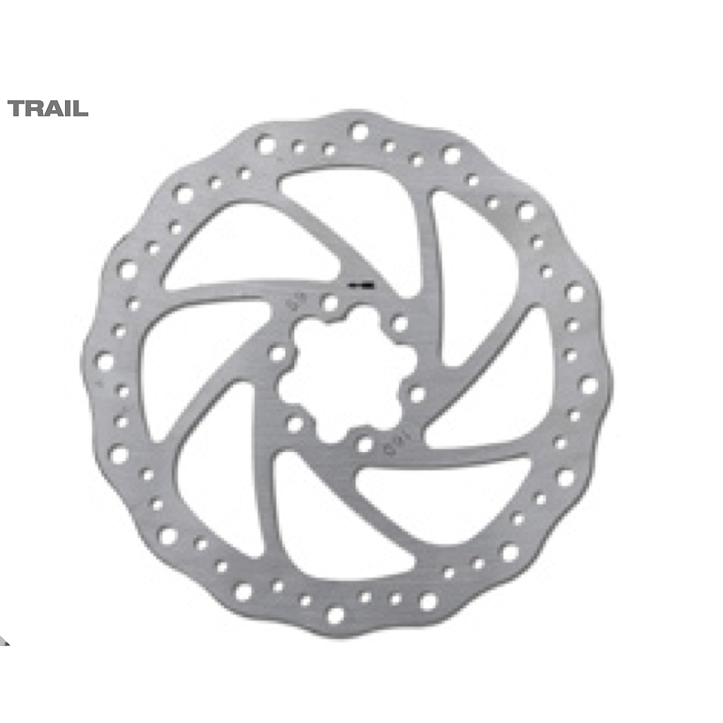 DISC BRAKE ROTOR INOX TRAIL 160 MM, 6 HOLES, SILVER