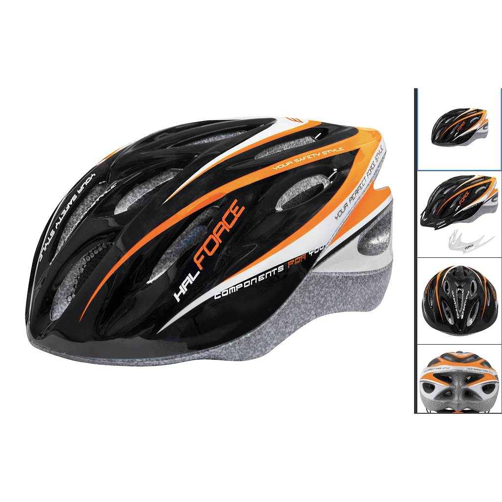 **FORCE HAL HELMET BLACK/ORANGE/WHITE L-XL