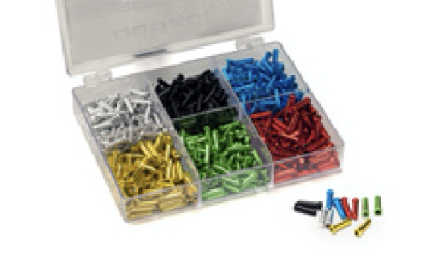 QUAXAR ASSORTED COLOURED CABLE ENDS BX