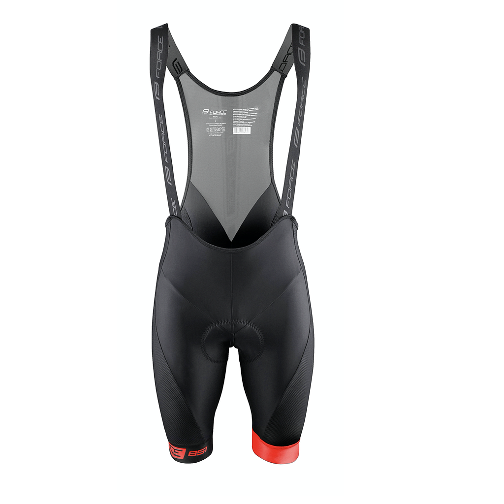 FORCE BIBSHORTS  B51 WITH PAD,BLACK-RED L
